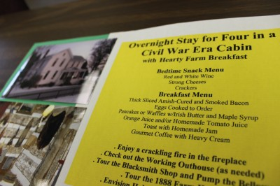 Overnight Stay in a Civil War Era Cabin silent auction item.