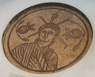 Mosaic from Roman Britain indicating Romans indeed introduced the use of the Chi-Rho as a Christian symbol to England. (via WIkimedia)