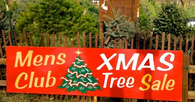 The Manchester Men's Club X-mas Tree Sale Sign.