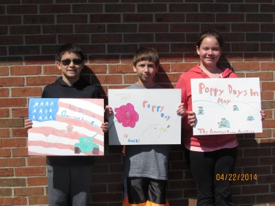 John Barnard, Aiden Creffield, and Libby Burch have been announced as winners of this year's poppy poster contest by American Legion Auxiliary Unit #117