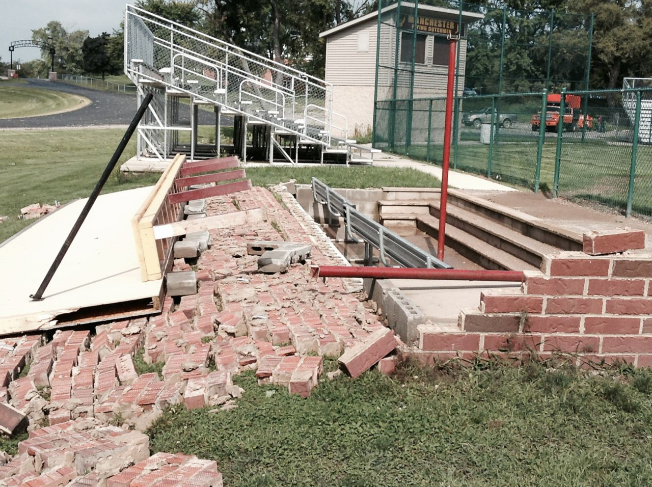 Baseball Dugout Flattened Power Outages Experienced As A