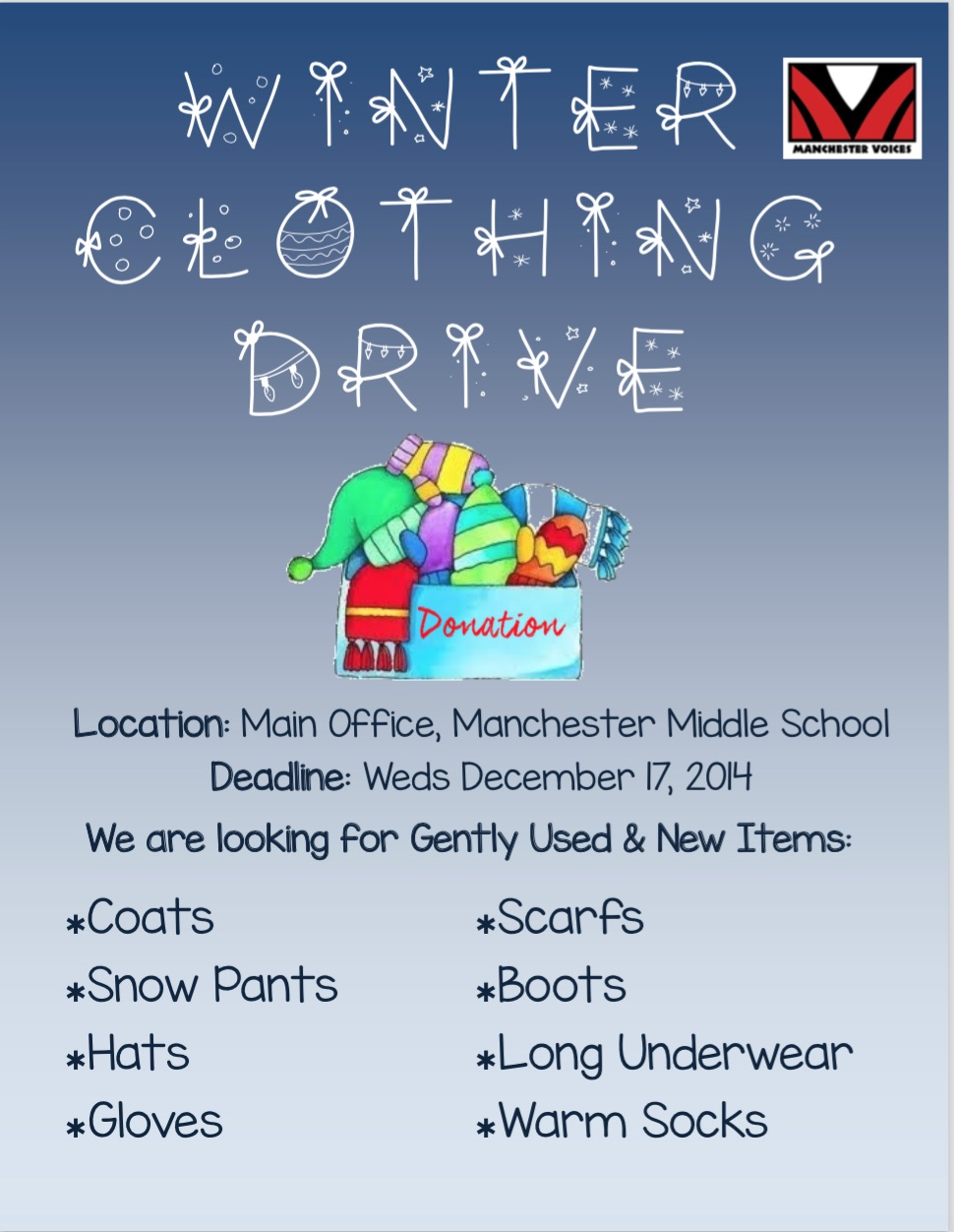 Winter Clothing Drive Wraps Up December 17 The