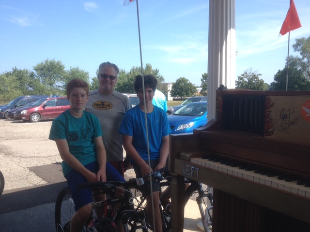 Mr. B with his helping pedalers, Alden and Tomas.