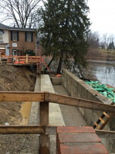 Abutments on the west side of the Main Street Bridge are complete and awaiting the piers (at right) to be cut down preparing for beams to be placed.