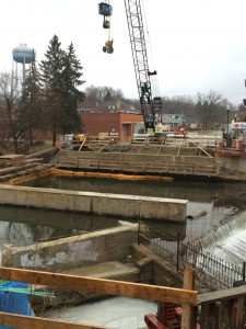 Work on the east side of the bridge was completed last week, in preparation for the abutments to be poured.
