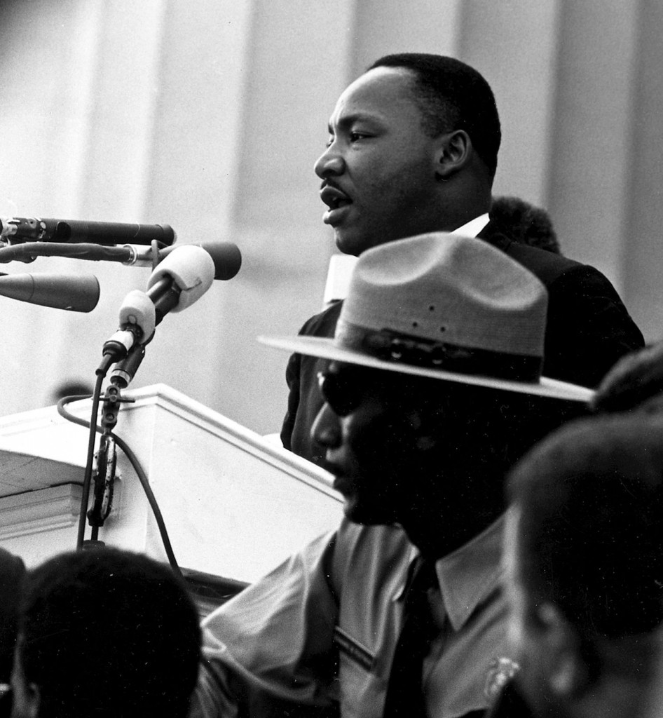 Martin Luther King, Jr., at the podium on the steps of the Lincoln Memorial in August 1963.