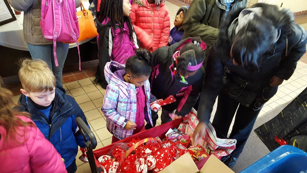 Photo from the Center. Inside they got to pass out a lot of love to kids and parents. Photo courtesy of the Celkis family.