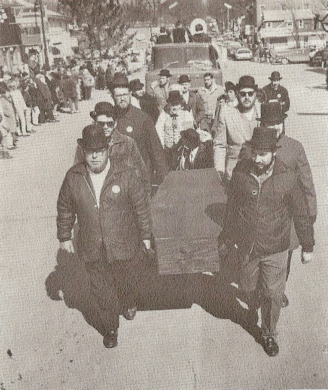 """""""Brothers of the Brush"""" marching in the 1967 Centennial Parade"""