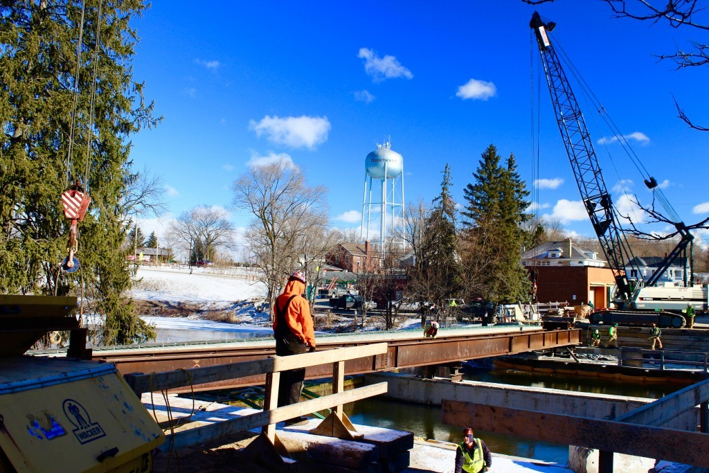 Photo from Feb. 11, 2016. The day the first beam was laid across the river.