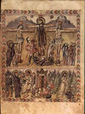 One of the earliest known depictions of the crucifixion and resurrection of Jesus (Rabbula Gospel illuminated manuscript, 6th century)