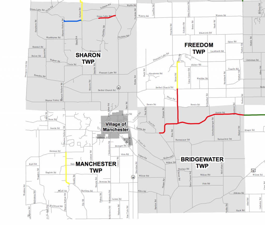 Map excerpt showing road improvements proposed in the Manchester area with county-wide road-funding ballot initiative. Red = 2018, Blue = 2019, Green = 2020. Map provided by Washtenaw County Road Commission.