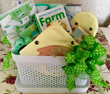 If you are delivering a baby at St. Joseph's Hospital in Ann Arbor during National Ag Week, you may be receiving this gift basket. Photo courtesy of Washtenaw County Farm Bureau.