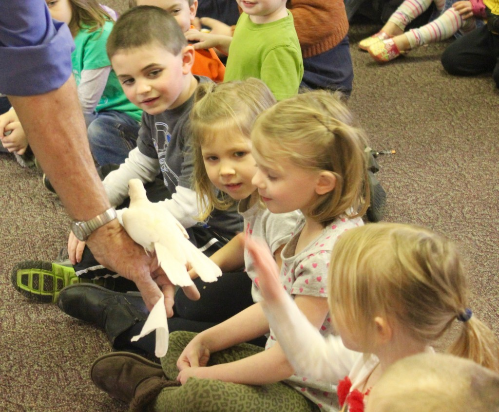 The Critter guy visited with 80 of Manchester's preschoolers this winter at the library. He will be bringing doves as well as many more animals to Math and Science Night on Friday.