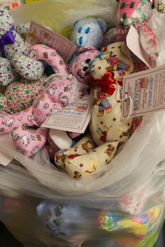 A bag of Shirley's bears waiting to go to the hospital.