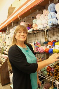 Christine in the yarn section of Pyramid.