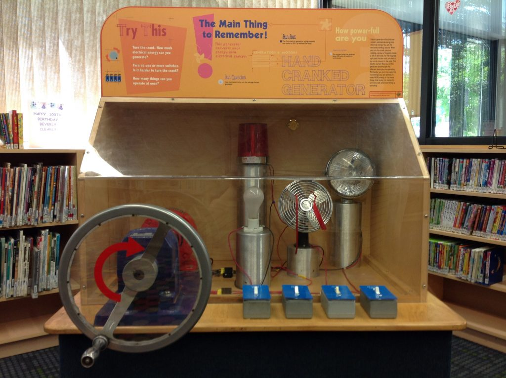 Interactive generator display. Photo courtesy of Manchester District Library.