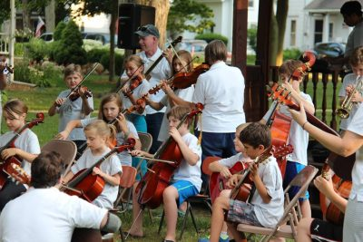 The Cultural Arts Strings summer camp ensemble performed at the gazebo last week. Photo by Jamie Kendall.