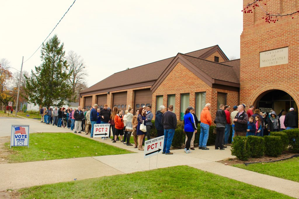 A long line around 11am to vote in Manchester Township.