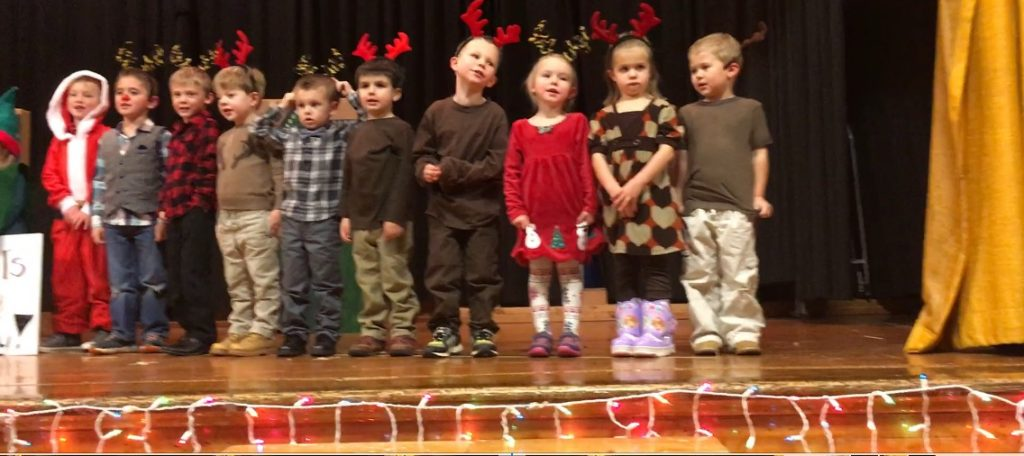 The four and five-year old co-op preschoolers during their holiday performance.