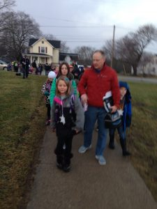 Heading up the Klager walk, led by teacher Mr. Ron Tindall.