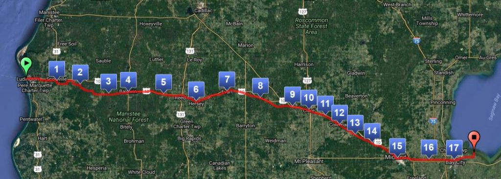 The route of the VM150, planned for Memorial Day Weekend 2017, will take runners about 150 miles from the Lake Michigan shore to the Saginaw Bay.