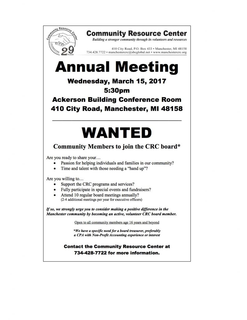 CRC Annual Meeting Announcement 2017